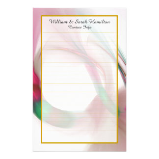 Monogram Red Wedding Rings Fine Lined Stationery
