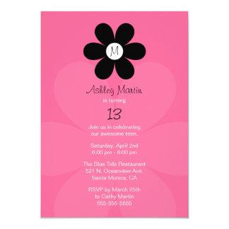 Monogram Teen Girl Birthday Party Invitation