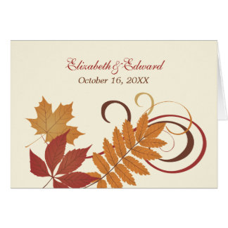 Monogram Thank You Note | Autumn Falling Leaves Note Card