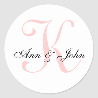 Monogram Wedding Initial Bride Groom Names Sticker