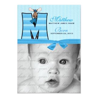 "Monogrammed ""M"" Blue Moose Birth Announcement"