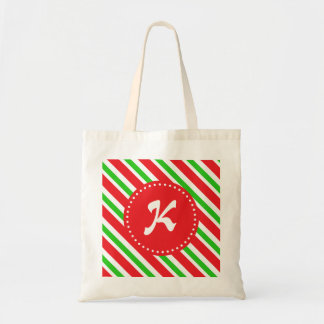 Monogrammed Red and Green Stripes Pattern Budget Tote Bag