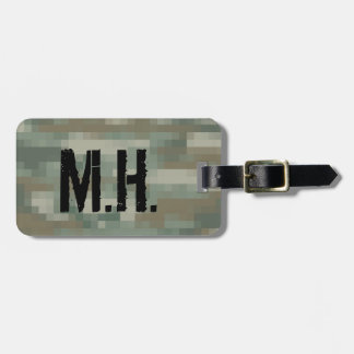 Monogrammed travel luggage tag | Pixel camouflage