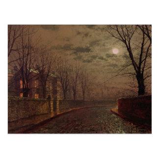 Moonlit Street Scene, 1882 (oil on canvas) Postcard