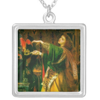 Morgan Le Fay ~ Sandys 1864 Fine Art Painting Square Pendant Necklace