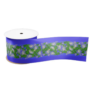 Morning Glory Floral Flowers Tropical Ribbon Satin Ribbon