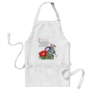 Morning Glory Peony Flowers Floral Christmas Apron