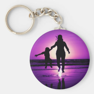 Mother and son Child Beach Jumping Basic Round Button Key Ring