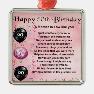 Mother in Law Poem  -  50th Birthday Silver-Colored Square Decoration