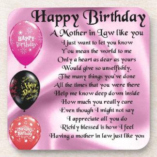 Mother in Law Poem  -  Happy Birthday Drink Coaster