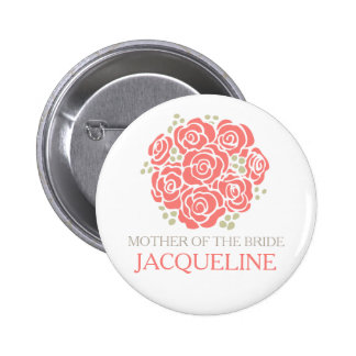 Mother of the bride coral posy wedding pin button