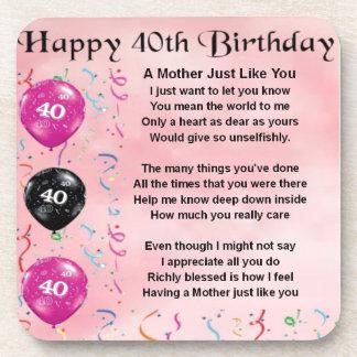 Mother Poem - 40th Birthday Beverage Coasters