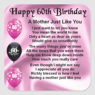 Mother Poem - 60th Birthday Square Sticker