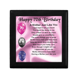 Mother Poem - 70th Birthday Small Square Gift Box