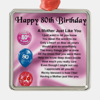 Mother Poem  -  80th Birthday Silver-Colored Square Decoration