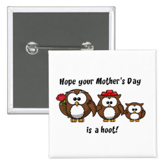 Mother's Day Owl Family Hoot Cartoon Illustration 15 Cm Square Badge