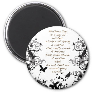 Mother's day wishes black Abusive 6 Cm Round Magnet