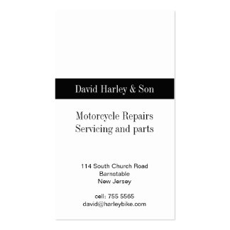 Motorcycle repair and servicing pack of standard business cards