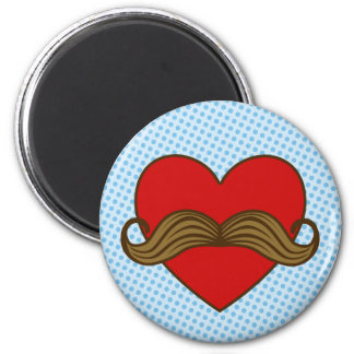 Moustache Valentine Heart 6 Cm Round Magnet