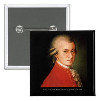 "Mozart ""Love Love Love"" Quote Gifts & Collectibles 15 Cm Square Badge"