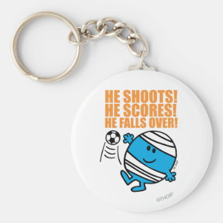 Mr. Bump Playing Soccer Basic Round Button Key Ring