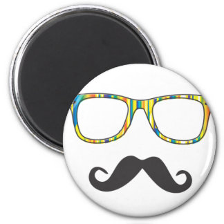 Mr Moustache Hipster 6 Cm Round Magnet