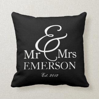 """Mr & Mrs"" personalized black & white Throw Cushion"