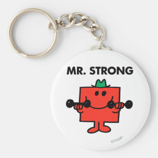 Mr. Strong | Lifting Weights Basic Round Button Key Ring