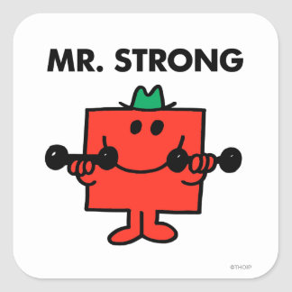 Mr. Strong | Lifting Weights Square Sticker