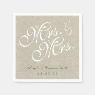 Mrs. and Mrs. Linen Rustic Wedding Paper Napkins