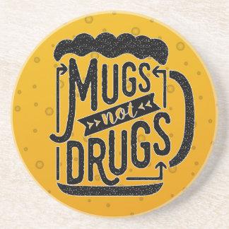 Mugs Not Drugs Funny Beer Drinker Typography Beverage Coasters