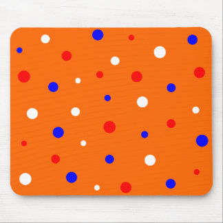 Muismat oranje met rood~wit~blauw confetti mouse pad