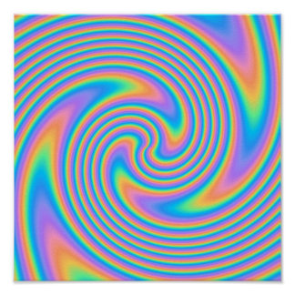 Multicolor Psychedelic Twist Swirl Pattern. Poster