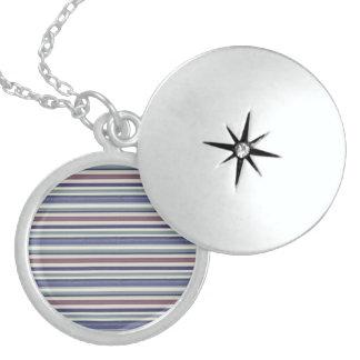 Multicolor Striped Print Silver Round Locket