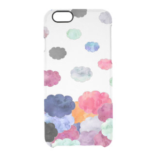 Multicolor whimsical watercolour clouds pattern clear iPhone 6/6S case