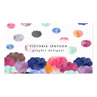 Multicolor whimsical watercolour clouds pattern pack of standard business cards