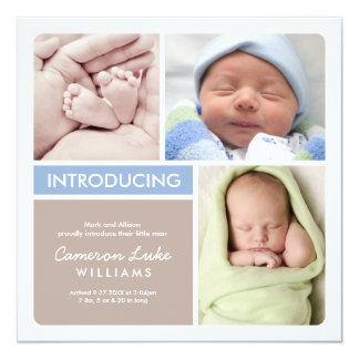 Multiple Photo Birth Announcement | Blue & Taupe