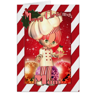 Mum Christmas Card With Cute Chef And Baubles