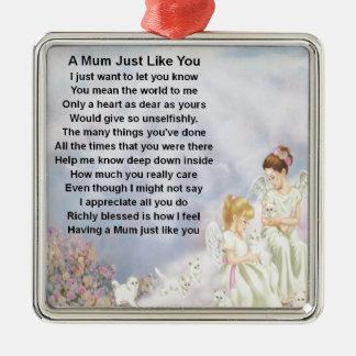 Mum Poem  - Angels & Kittens Design Silver-Colored Square Decoration