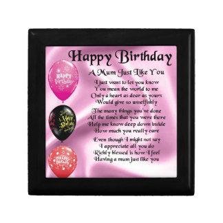 Mum Poem  -  Happy Birthday Small Square Gift Box
