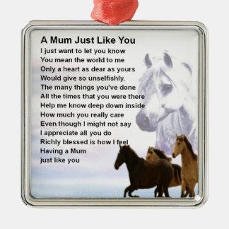 Mum Poem  -  Horses Design Silver-Colored Square Decoration