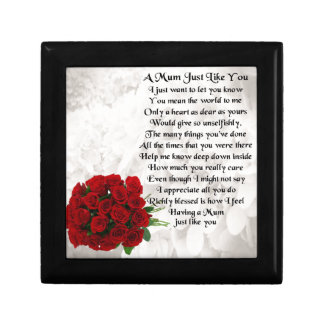 Mum Poem - Red Roses Small Square Gift Box