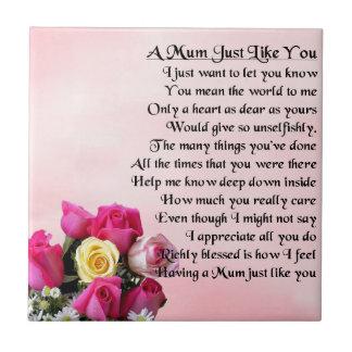 Mum Poem  -  Roses Design Small Square Tile