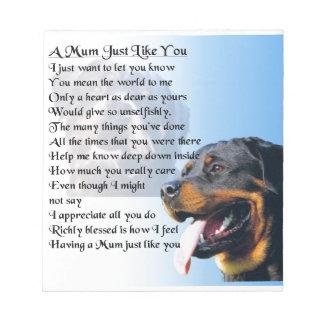 Mum Poem - Rottweiler Design Notepads