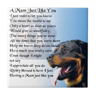 Mum Poem - Rottweiler Design Small Square Tile