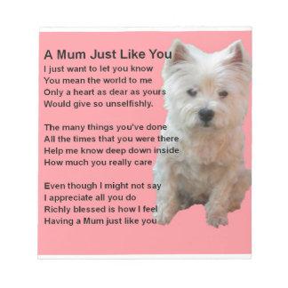 Mum Poem - Westie Design Memo Pads