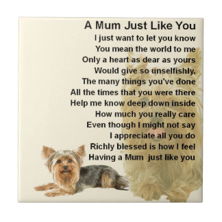 Mum Poem - Yorkshire Terrier Design Small Square Tile