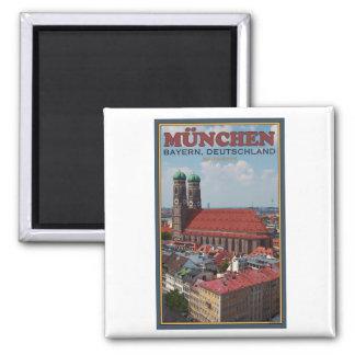 Munich Frauenkirche (Portrait) Square Magnet