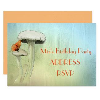 Mushroom fairy watercolour girl's birthday party 13 cm x 18 cm invitation card