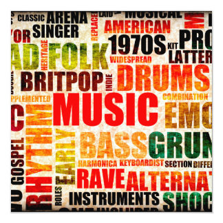 Music Background With Different Genres and Types 13 Cm X 13 Cm Square Invitation Card